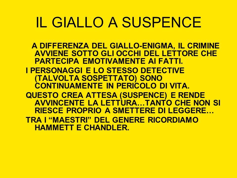 IL GIALLO A SUSPENCE A DIFFERENZA DEL GIALLO-ENIGMA, IL CRIMINE AVVIENE SOTTO GLI OCCHI DEL LETTORE CHE PARTECIPA EMOTIVAMENTE AI FATTI.