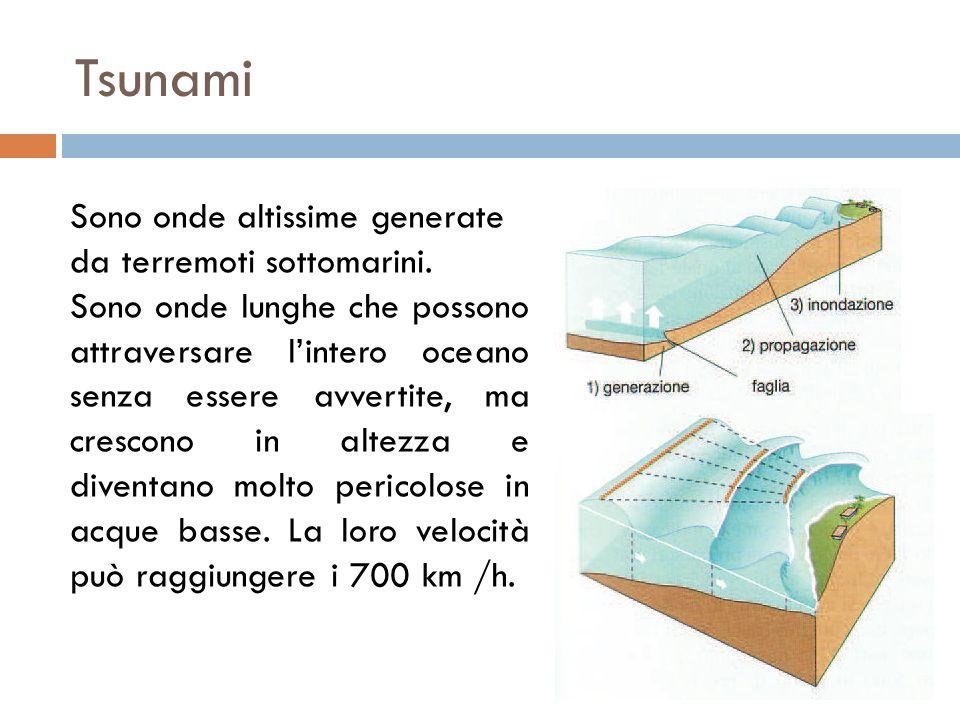 Tsunami Sono onde altissime generate da terremoti sottomarini.