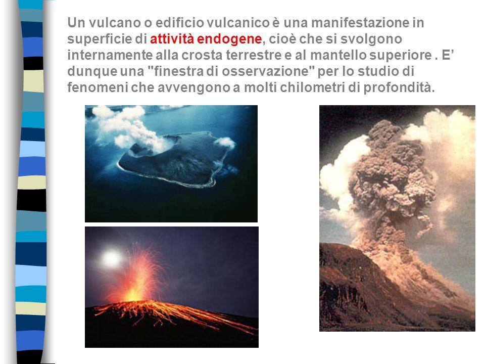 Un vulcano o edificio vulcanico è una manifestazione in superficie di attività endogene, cioè che si svolgono internamente alla crosta terrestre e al mantello superiore .