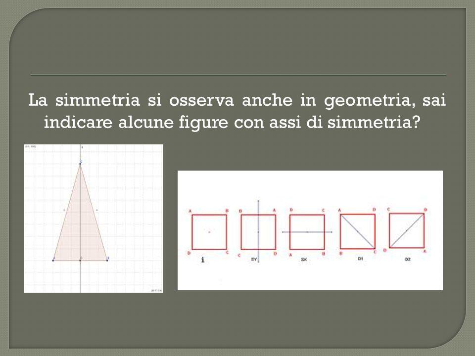 La simmetria si osserva anche in geometria, sai indicare alcune figure con assi di simmetria