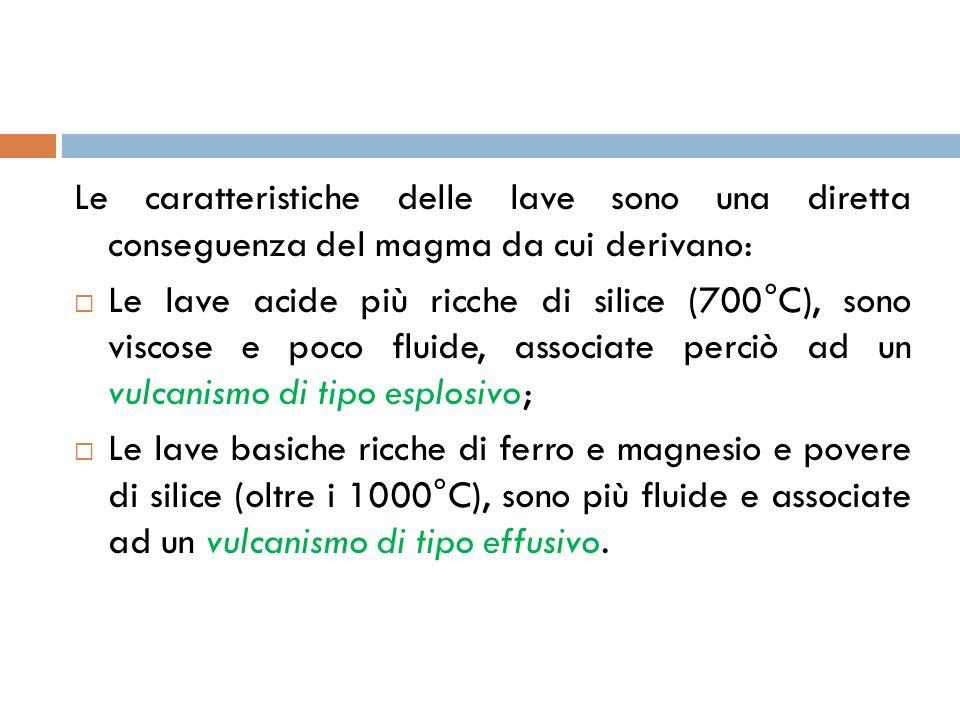 Le caratteristiche delle lave sono una diretta conseguenza del magma da cui derivano: