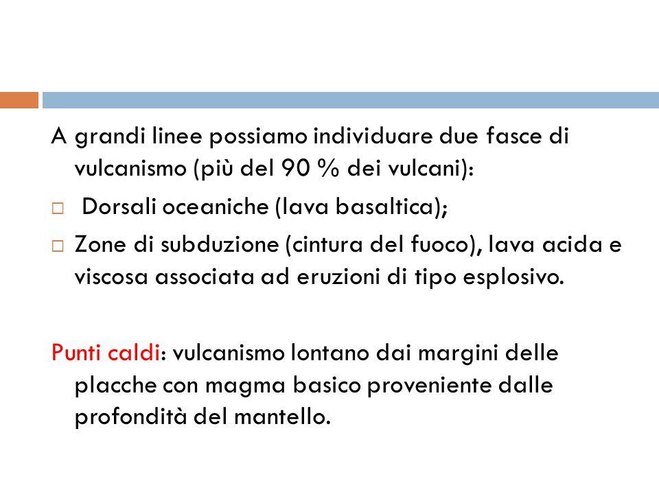 A grandi linee possiamo individuare due fasce di vulcanismo (più del 90 % dei vulcani):