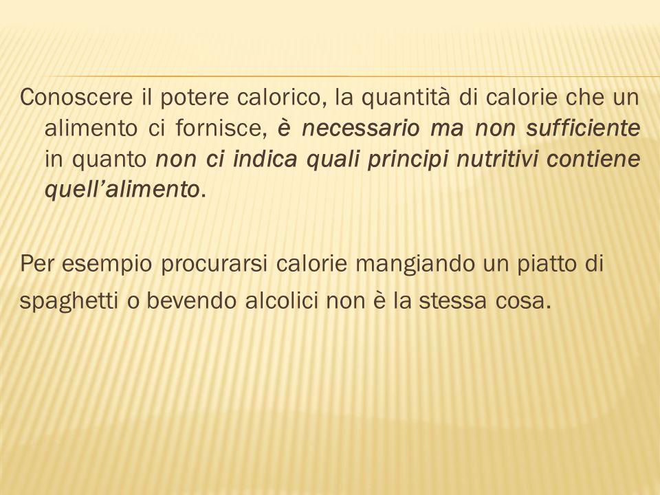 Conoscere il potere calorico, la quantità di calorie che un alimento ci fornisce, è necessario ma non sufficiente in quanto non ci indica quali principi nutritivi contiene quell'alimento.