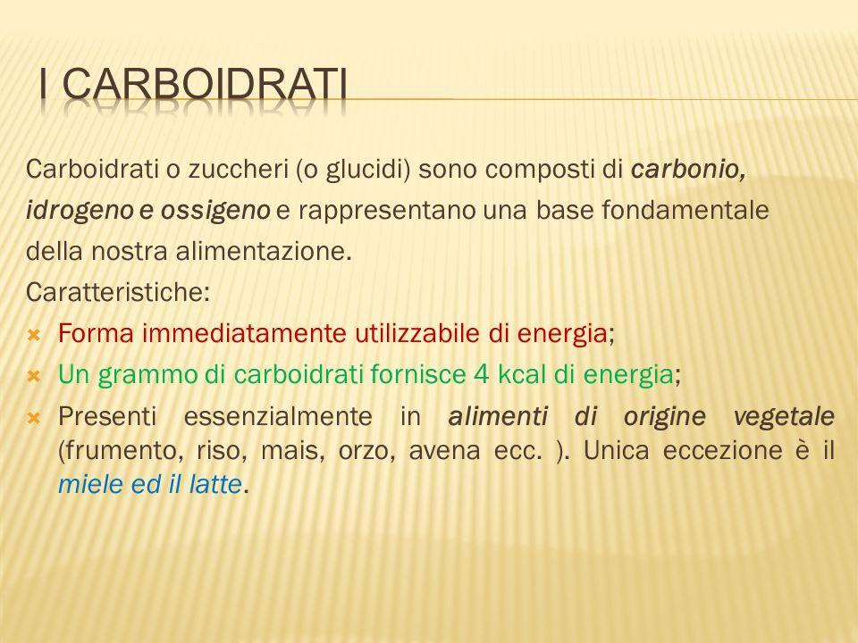 I carboidratiCarboidrati o zuccheri (o glucidi) sono composti di carbonio, idrogeno e ossigeno e rappresentano una base fondamentale.