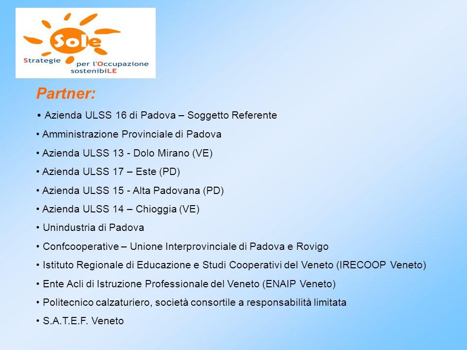 Partner: Azienda ULSS 16 di Padova – Soggetto Referente