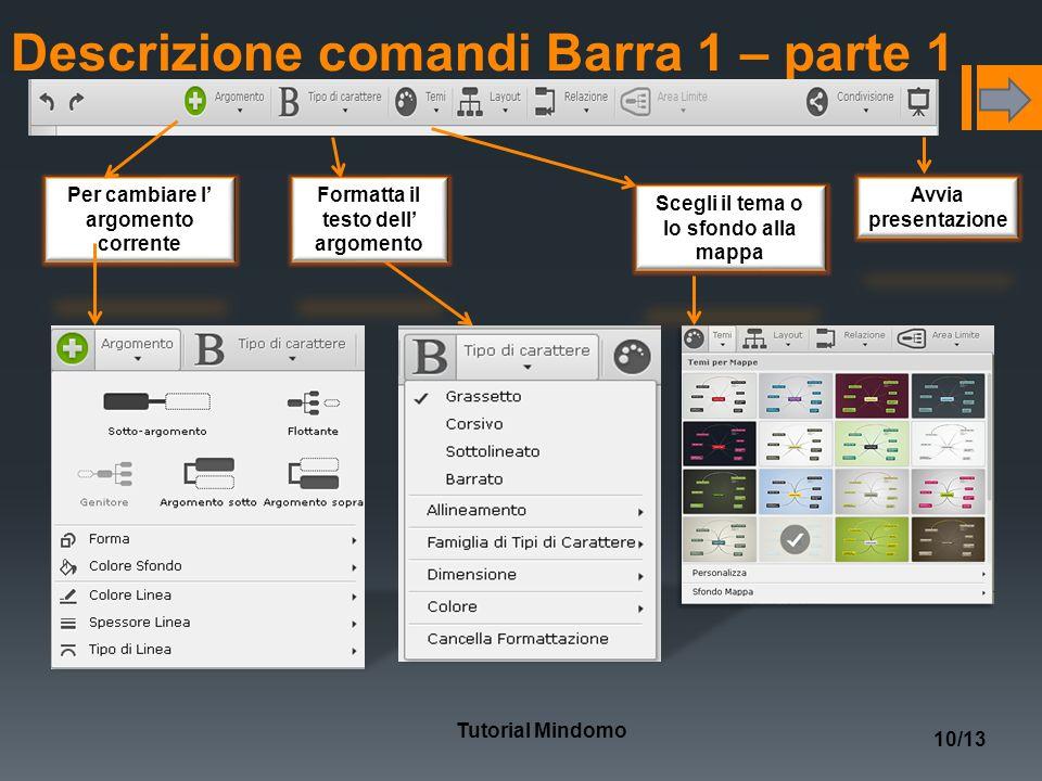 Descrizione comandi Barra 1 – parte 1