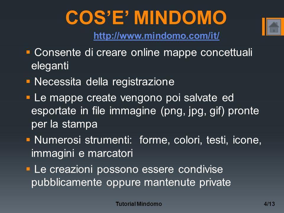 COS'E' MINDOMO Consente di creare online mappe concettuali eleganti