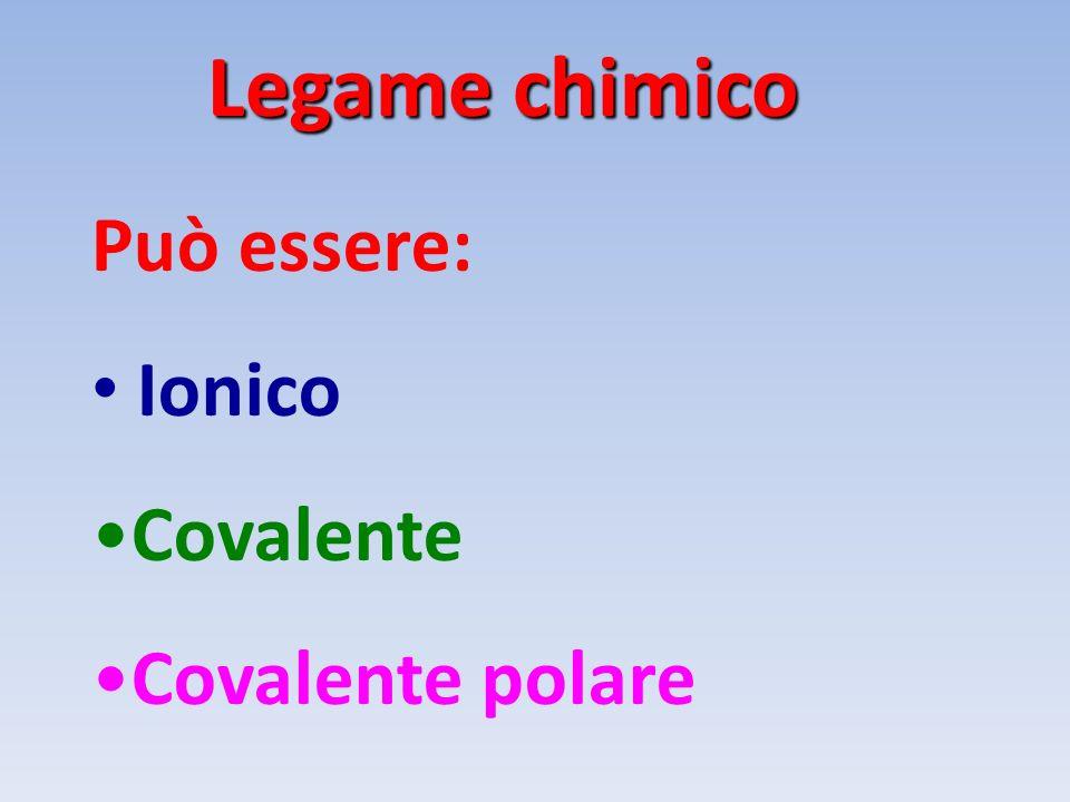Legame chimico Può essere: Ionico Covalente Covalente polare