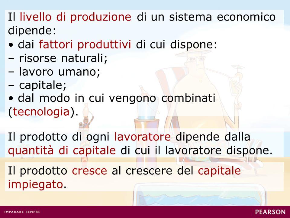 Il livello di produzione di un sistema economico dipende: