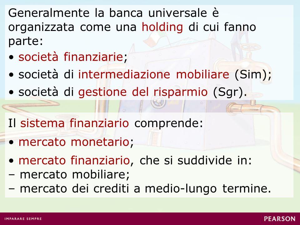 Generalmente la banca universale è organizzata come una holding di cui fanno parte: