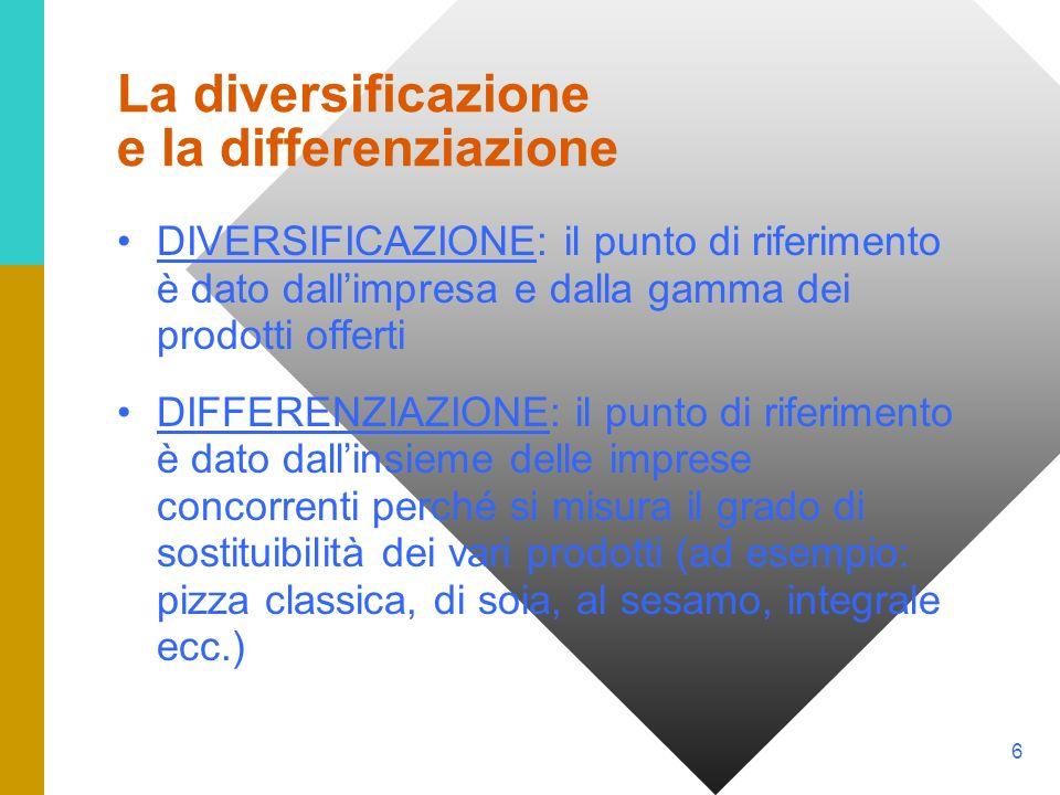 La diversificazione e la differenziazione