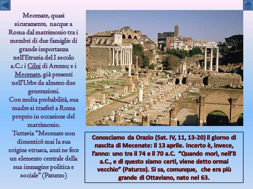 Mecenate, quasi sicuramente, nacque a Roma dal matrimonio tra i membri di due famiglie di grande importanza nell'Etruria del I secolo a.C.: i Cilni di Arezzo; e i Mecenate, già presenti nell'Urbe da almeno due generazioni.