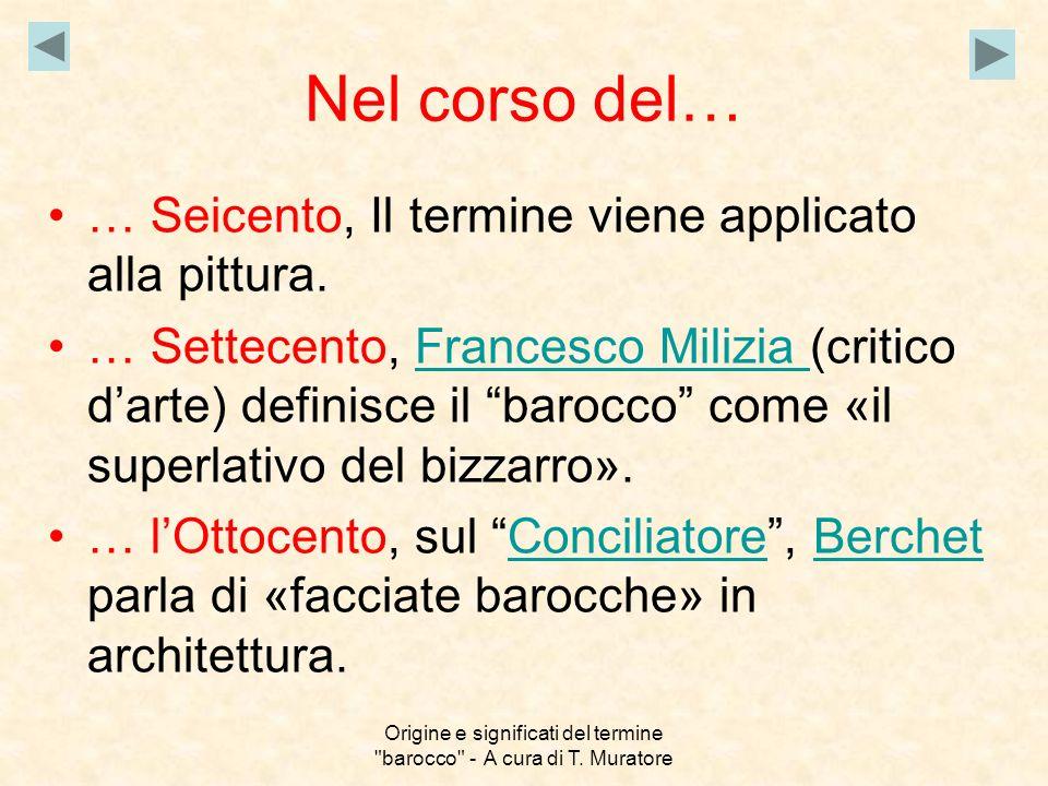 Origine e significati del termine barocco - A cura di T. Muratore