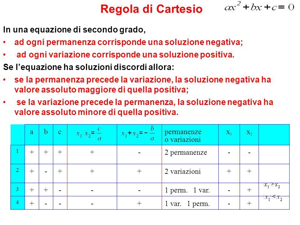 Regola di Cartesio In una equazione di secondo grado,