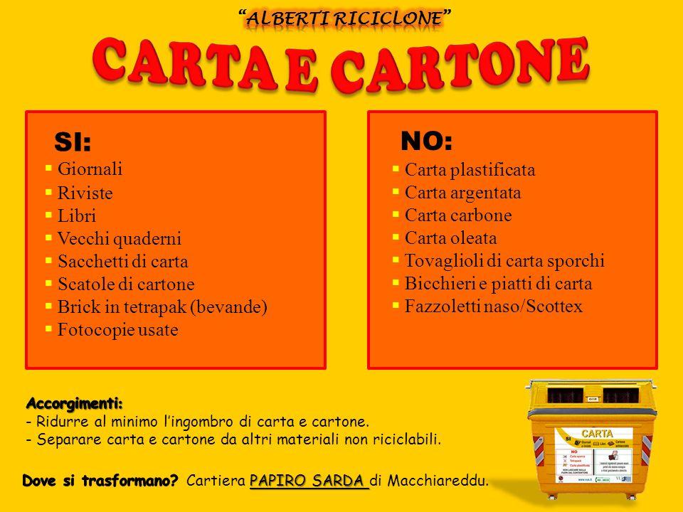 SI: NO: CARTA E CARTONE Giornali Carta plastificata Riviste