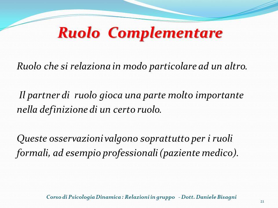 Ruolo Complementare Ruolo che si relaziona in modo particolare ad un altro. Il partner di ruolo gioca una parte molto importante.
