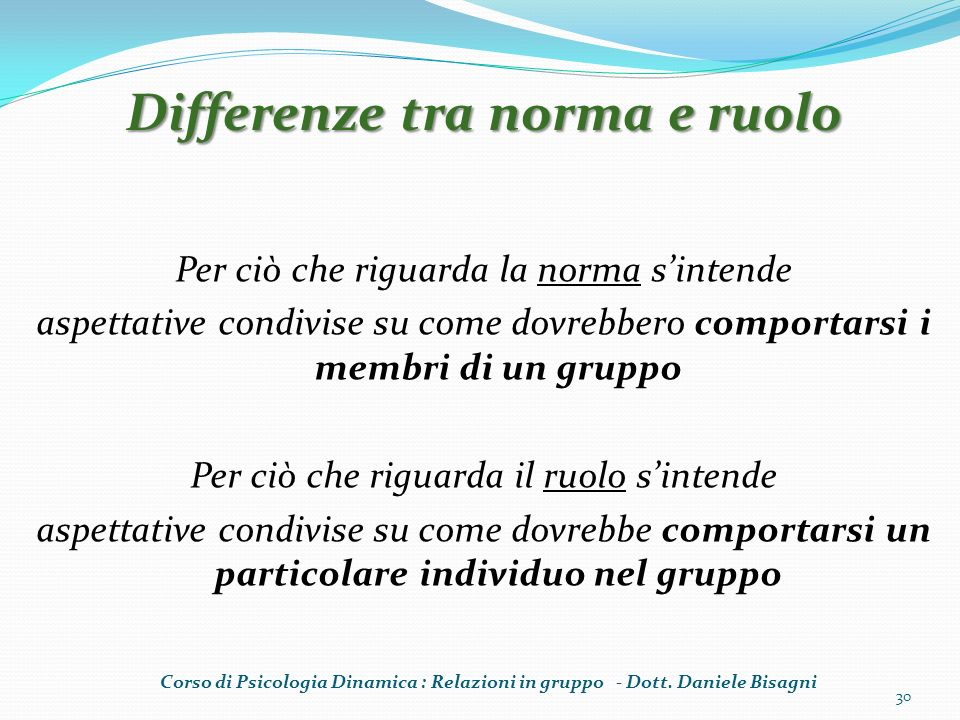 Differenze tra norma e ruolo