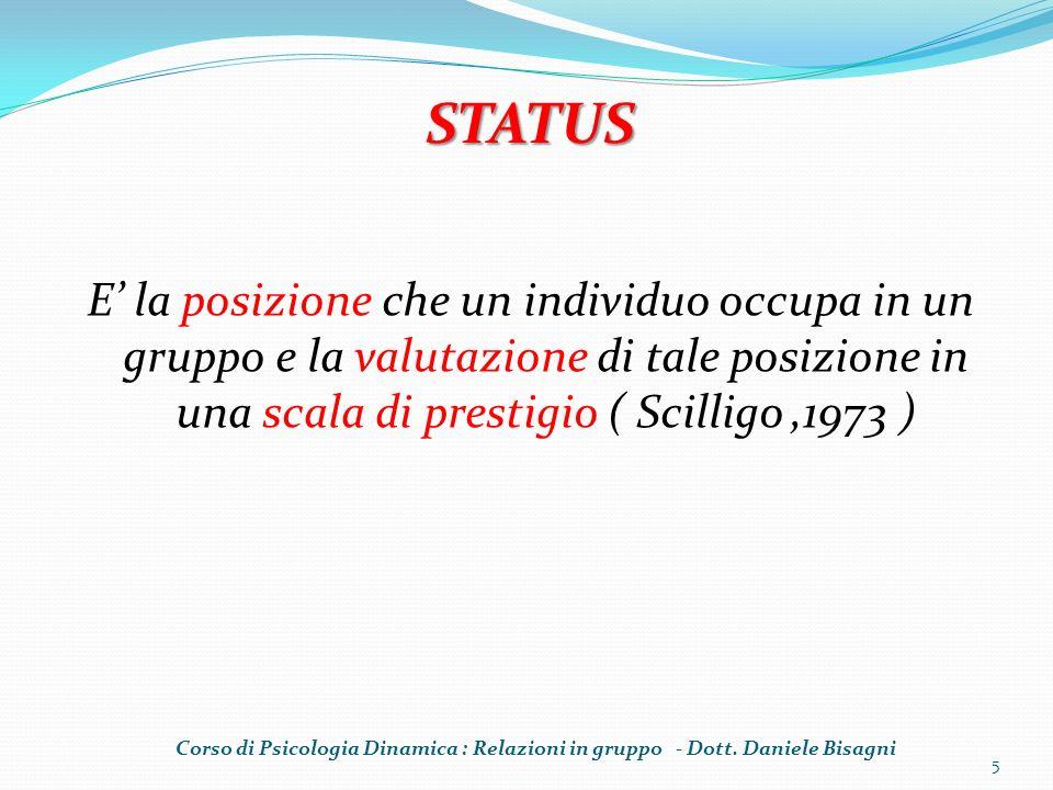 STATUS E' la posizione che un individuo occupa in un gruppo e la valutazione di tale posizione in una scala di prestigio ( Scilligo ,1973 )