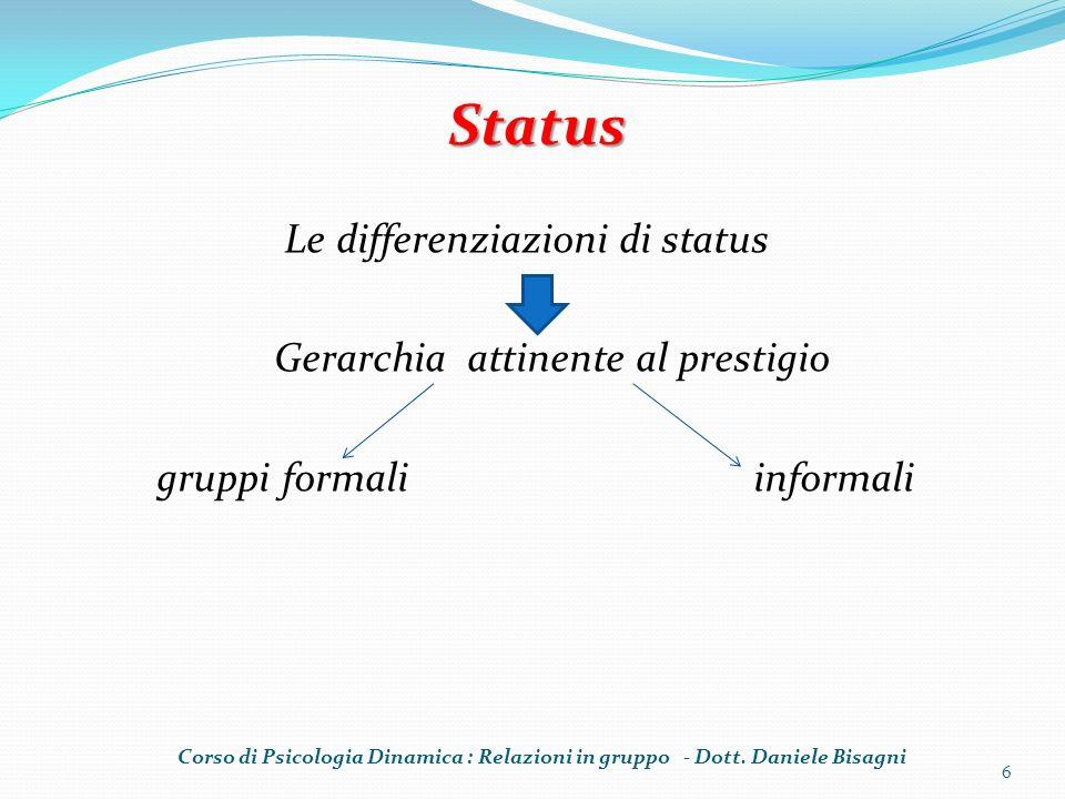 Status Le differenziazioni di status Gerarchia attinente al prestigio gruppi formali informali