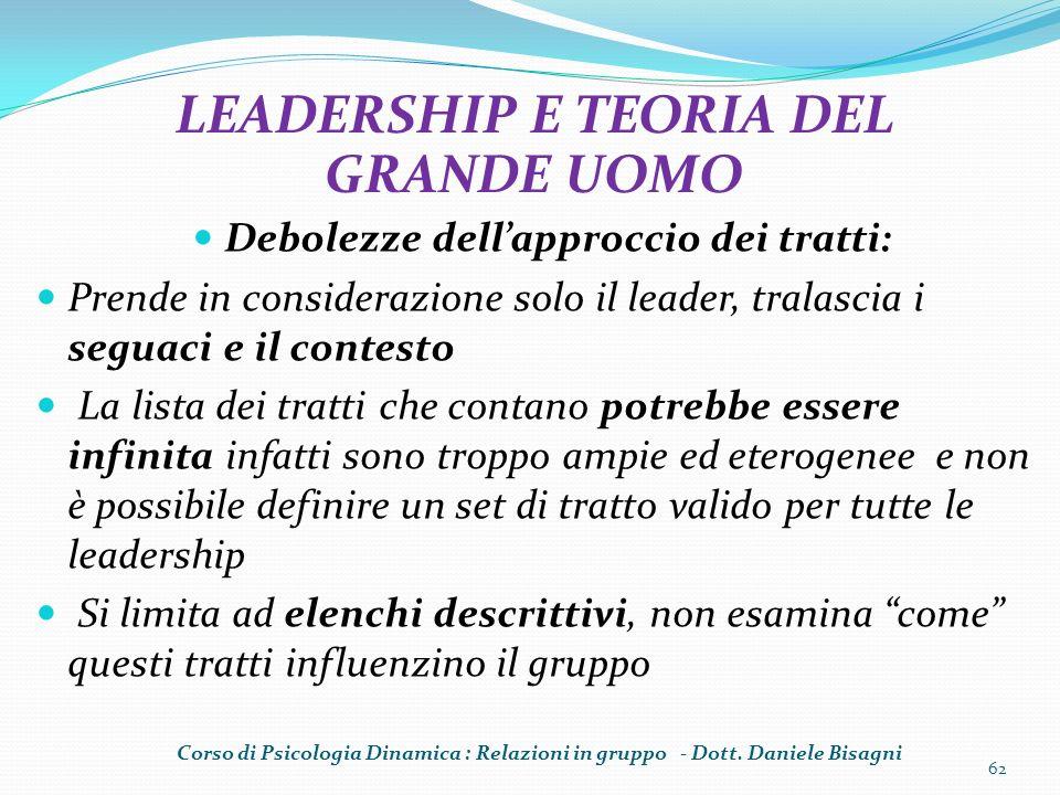 LEADERSHIP E TEORIA DEL GRANDE UOMO