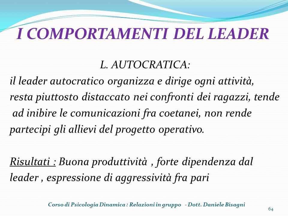 I COMPORTAMENTI DEL LEADER