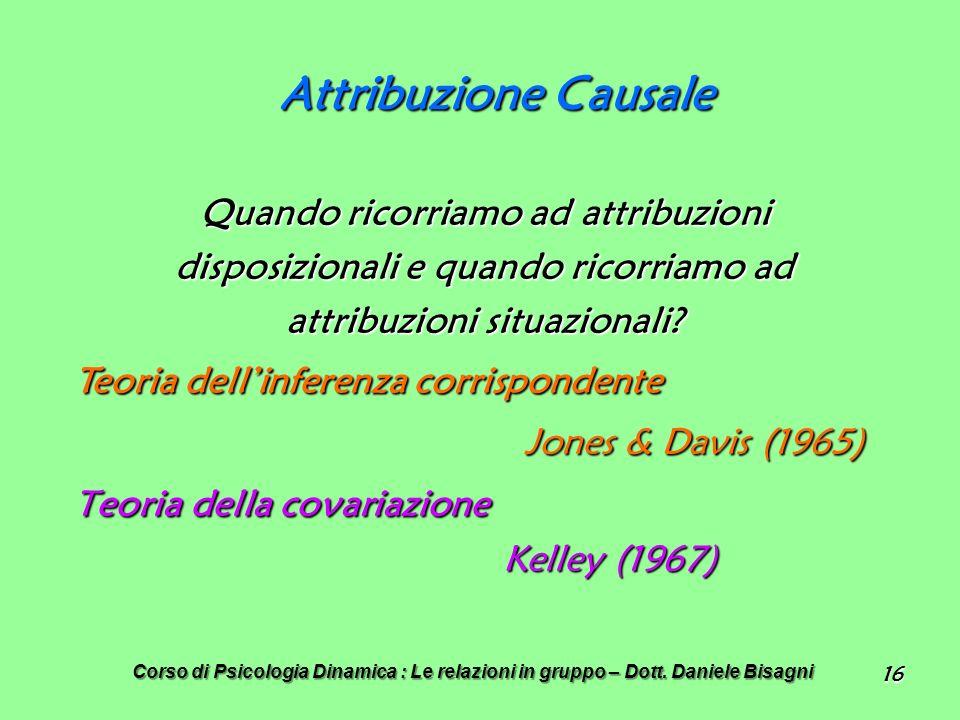Attribuzione Causale Jones & Davis (1965)