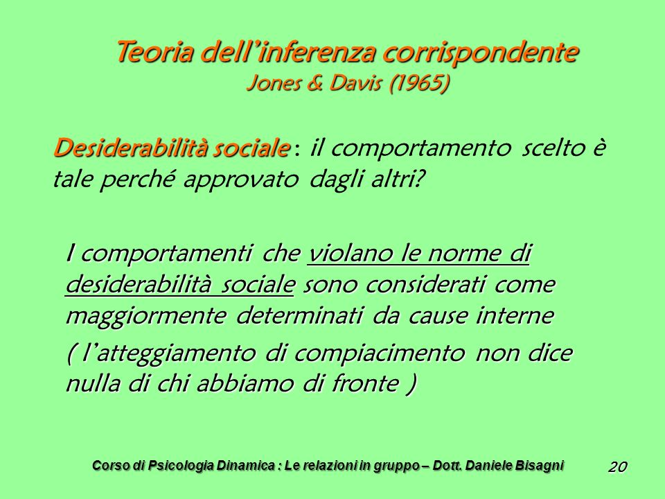 Teoria dell'inferenza corrispondente Jones & Davis (1965)