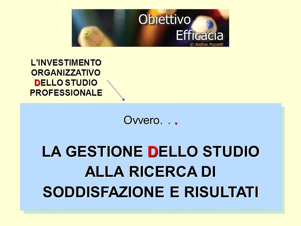 LA GESTIONE DELLO STUDIO ALLA RICERCA DI SODDISFAZIONE E RISULTATI