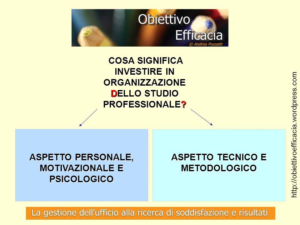 ASPETTO PERSONALE, MOTIVAZIONALE E PSICOLOGICO
