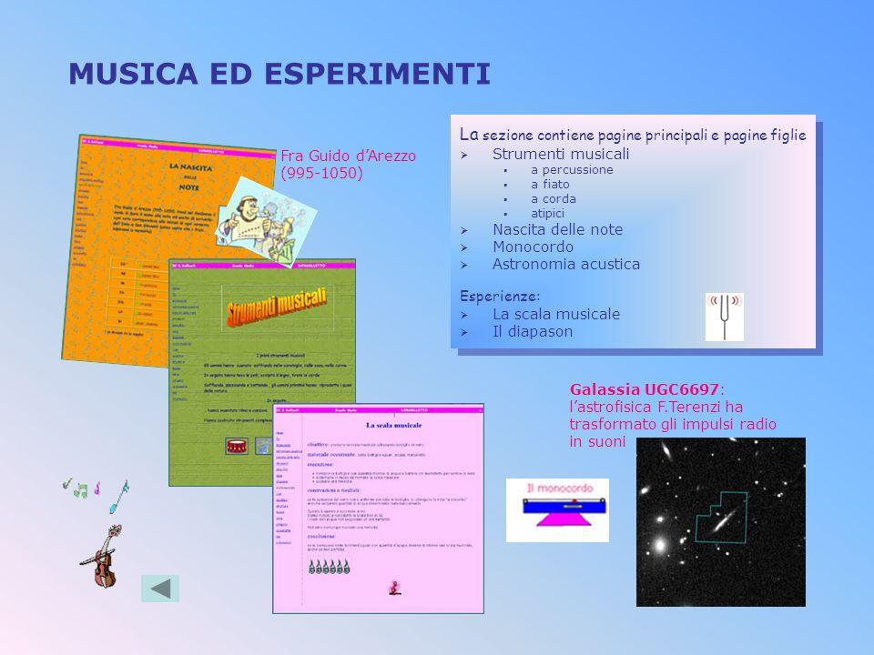 MUSICA ED ESPERIMENTI La sezione contiene pagine principali e pagine figlie. Strumenti musicali. a percussione.