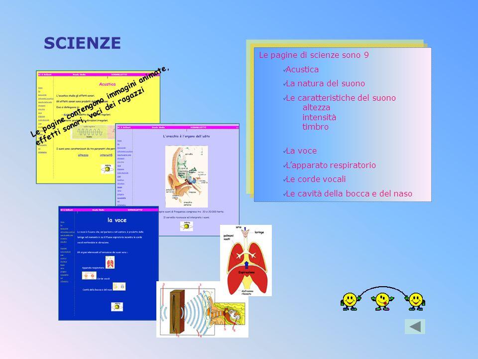 SCIENZE Le pagine di scienze sono 9 Acustica La natura del suono
