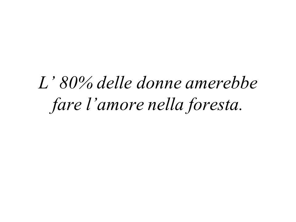 L' 80% delle donne amerebbe fare l'amore nella foresta.