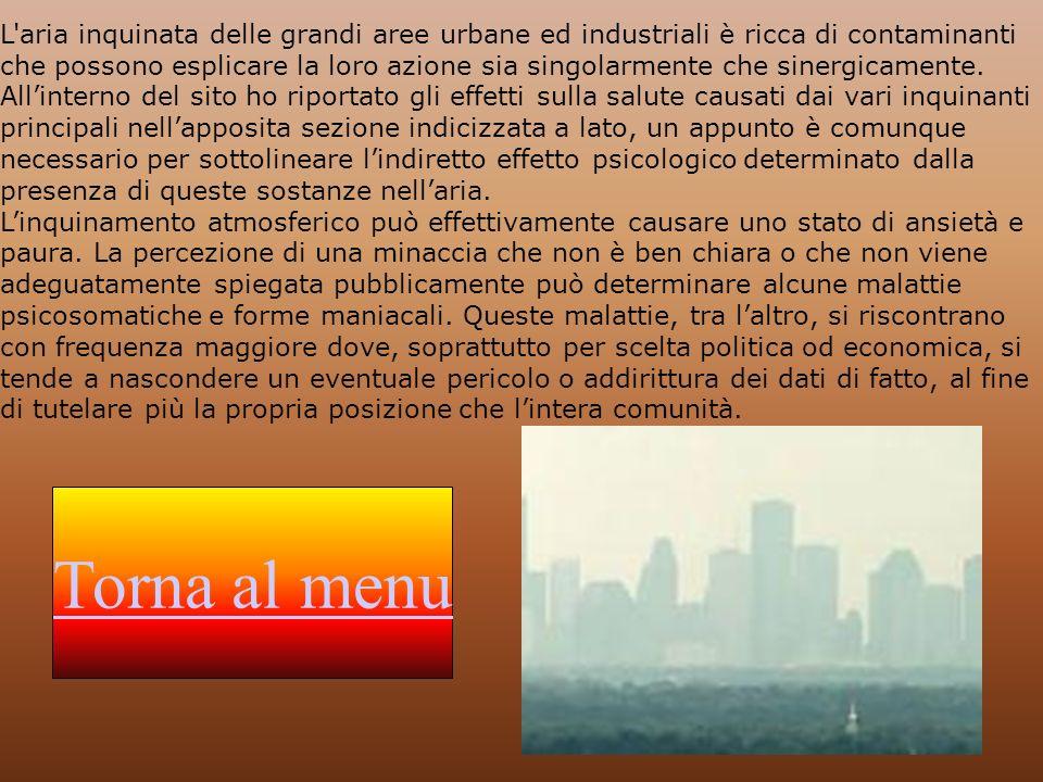 L aria inquinata delle grandi aree urbane ed industriali è ricca di contaminanti che possono esplicare la loro azione sia singolarmente che sinergicamente. All'interno del sito ho riportato gli effetti sulla salute causati dai vari inquinanti principali nell'apposita sezione indicizzata a lato, un appunto è comunque necessario per sottolineare l'indiretto effetto psicologico determinato dalla presenza di queste sostanze nell'aria. L'inquinamento atmosferico può effettivamente causare uno stato di ansietà e paura. La percezione di una minaccia che non è ben chiara o che non viene adeguatamente spiegata pubblicamente può determinare alcune malattie psicosomatiche e forme maniacali. Queste malattie, tra l'altro, si riscontrano con frequenza maggiore dove, soprattutto per scelta politica od economica, si tende a nascondere un eventuale pericolo o addirittura dei dati di fatto, al fine di tutelare più la propria posizione che l'intera comunità.