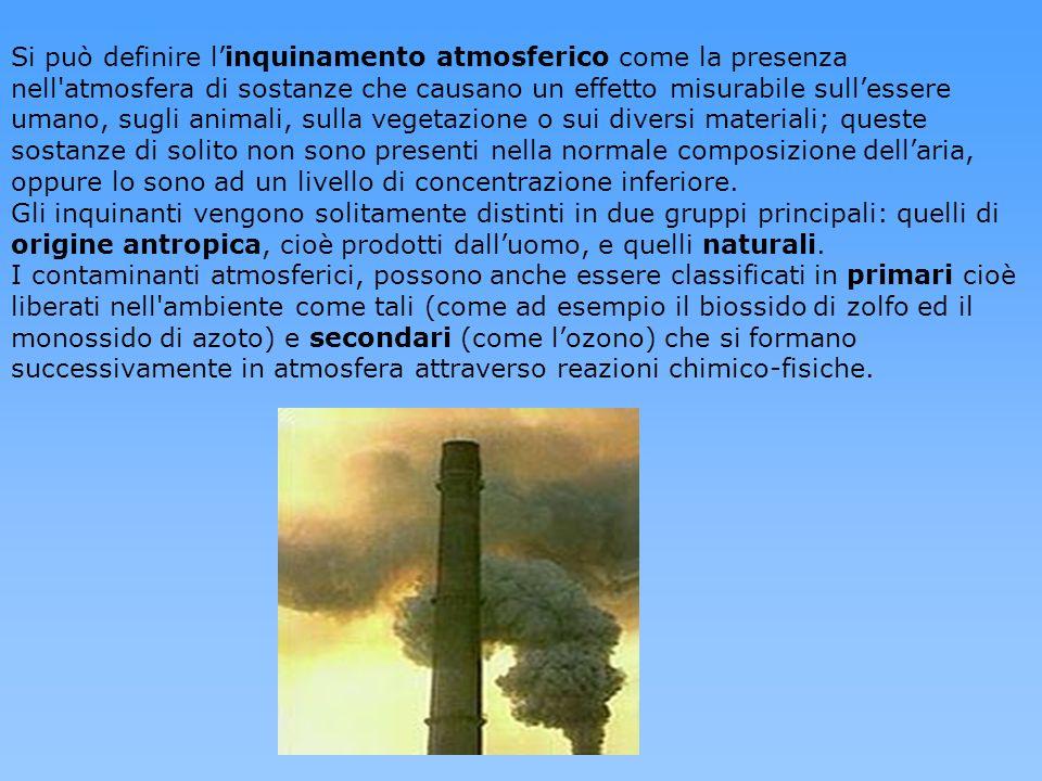 Si può definire l'inquinamento atmosferico come la presenza nell atmosfera di sostanze che causano un effetto misurabile sull'essere umano, sugli animali, sulla vegetazione o sui diversi materiali; queste sostanze di solito non sono presenti nella normale composizione dell'aria, oppure lo sono ad un livello di concentrazione inferiore.