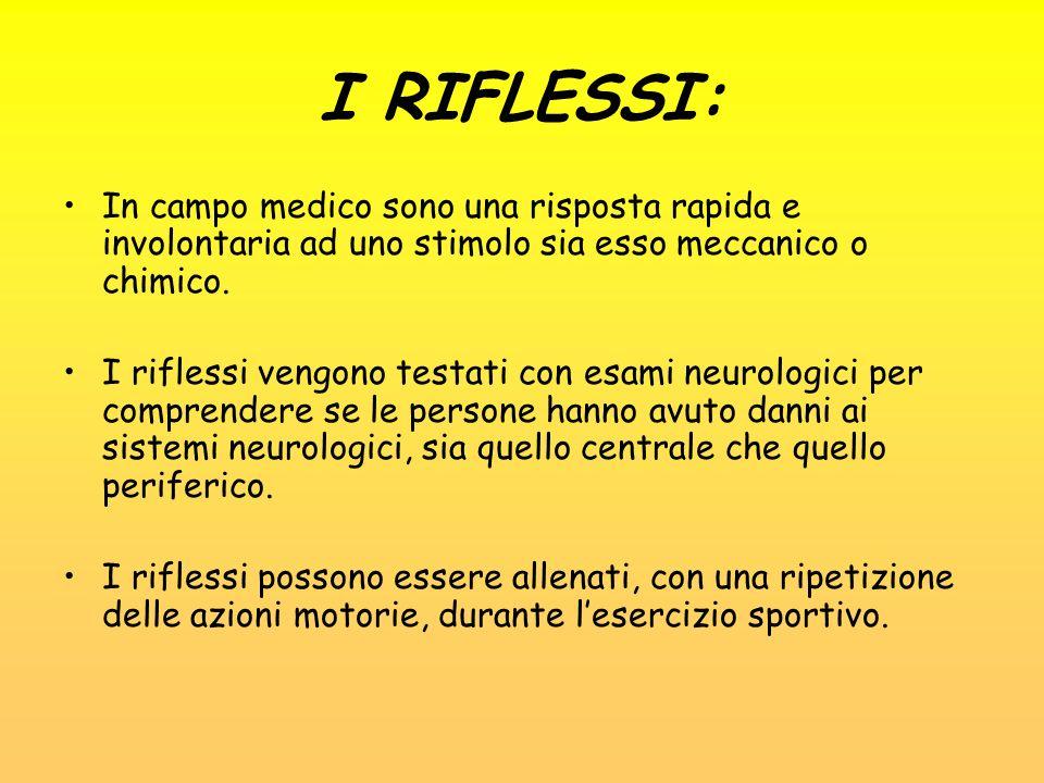 I RIFLESSI: In campo medico sono una risposta rapida e involontaria ad uno stimolo sia esso meccanico o chimico.