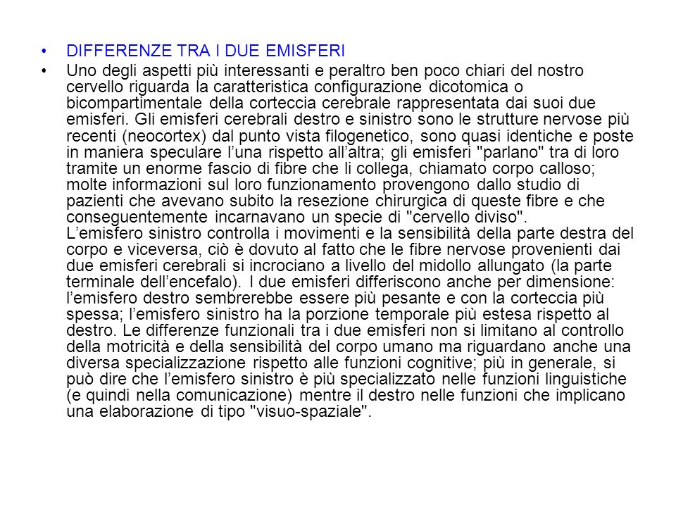 DIFFERENZE TRA I DUE EMISFERI