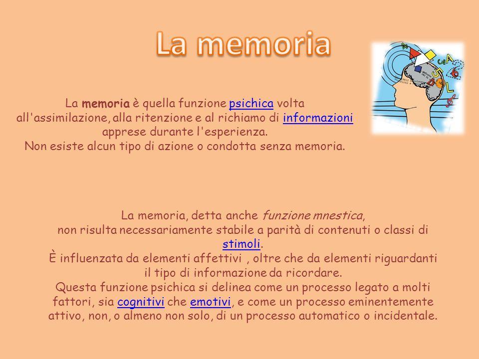 La memoria La memoria è quella funzione psichica volta