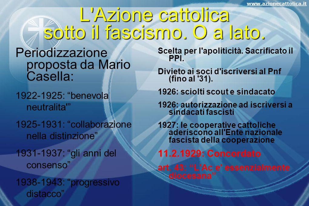 L Azione cattolica sotto il fascismo. O a lato.