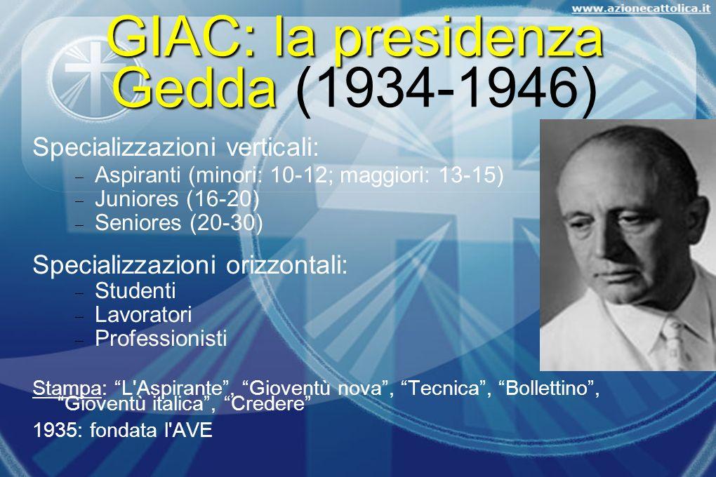 GIAC: la presidenza Gedda (1934-1946)