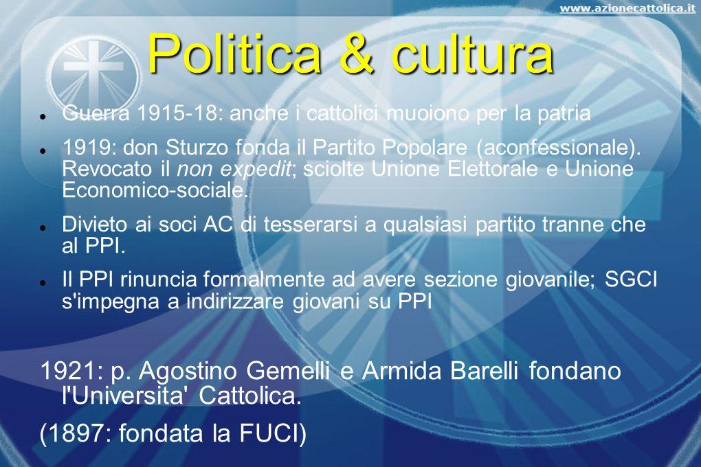 Politica & cultura Guerra 1915-18: anche i cattolici muoiono per la patria.