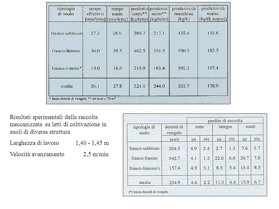 Risultati sperimentali della raccolta meccanizzata su letti di coltivazione in suoli di diversa struttura