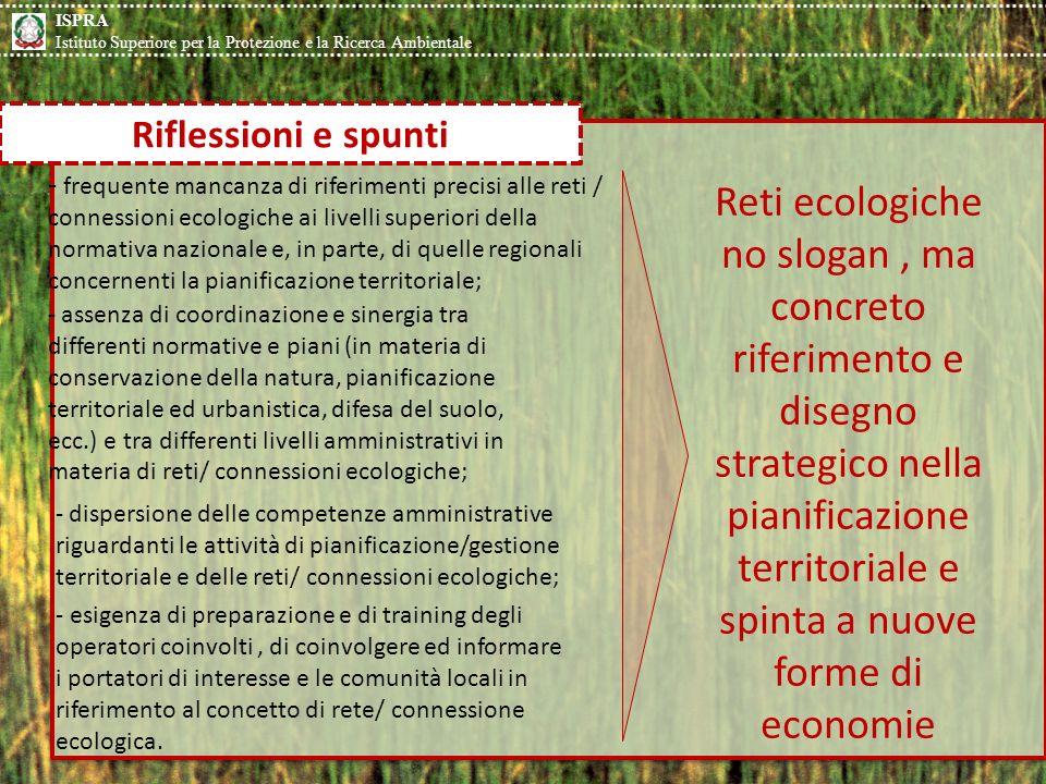 ISPRA Istituto Superiore per la Protezione e la Ricerca Ambientale. Riflessioni e spunti.