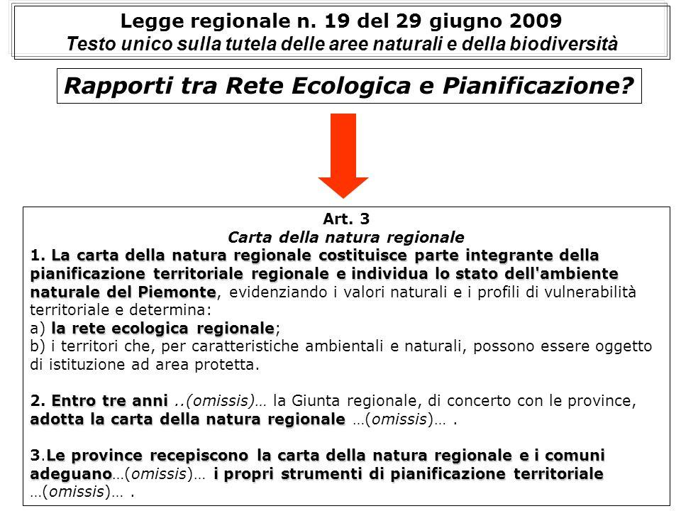 Rapporti tra Rete Ecologica e Pianificazione