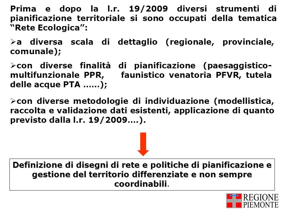Prima e dopo la l.r. 19/2009 diversi strumenti di pianificazione territoriale si sono occupati della tematica Rete Ecologica :