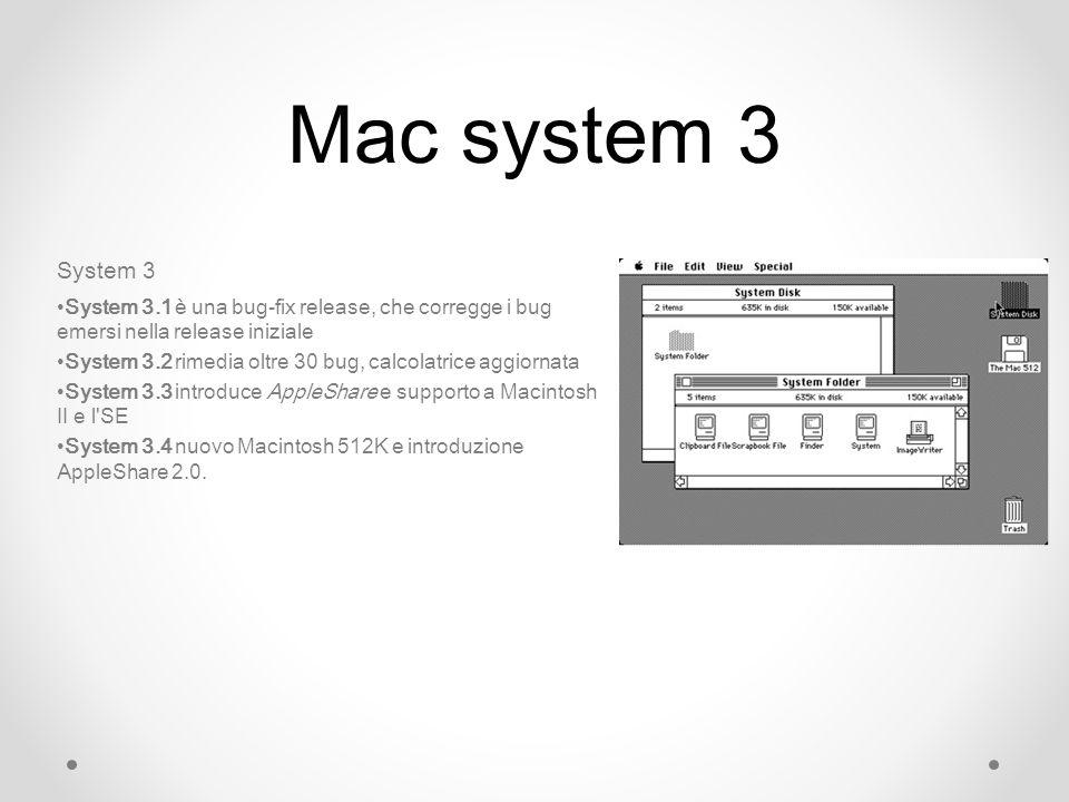 Mac system 3 System 3. System 3.1 è una bug-fix release, che corregge i bug emersi nella release iniziale.