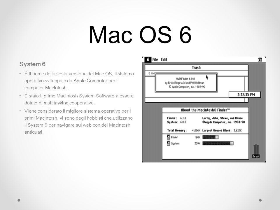 Mac OS 6 System 6. È il nome della sesta versione del Mac OS, il sistema operativo sviluppato da Apple Computer per i computer Macintosh .