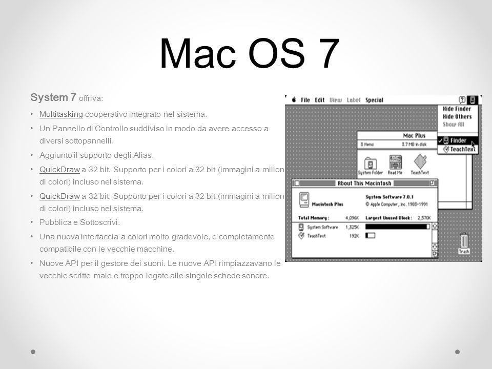 Mac OS 7 System 7 offriva: Multitasking cooperativo integrato nel sistema.