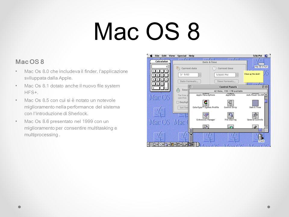 Mac OS 8 Mac OS 8. Mac Os 8.0 che includeva il finder, l applicazione sviluppata dalla Apple. Mac Os 8.1 dotato anche il nuovo file system HFS+.