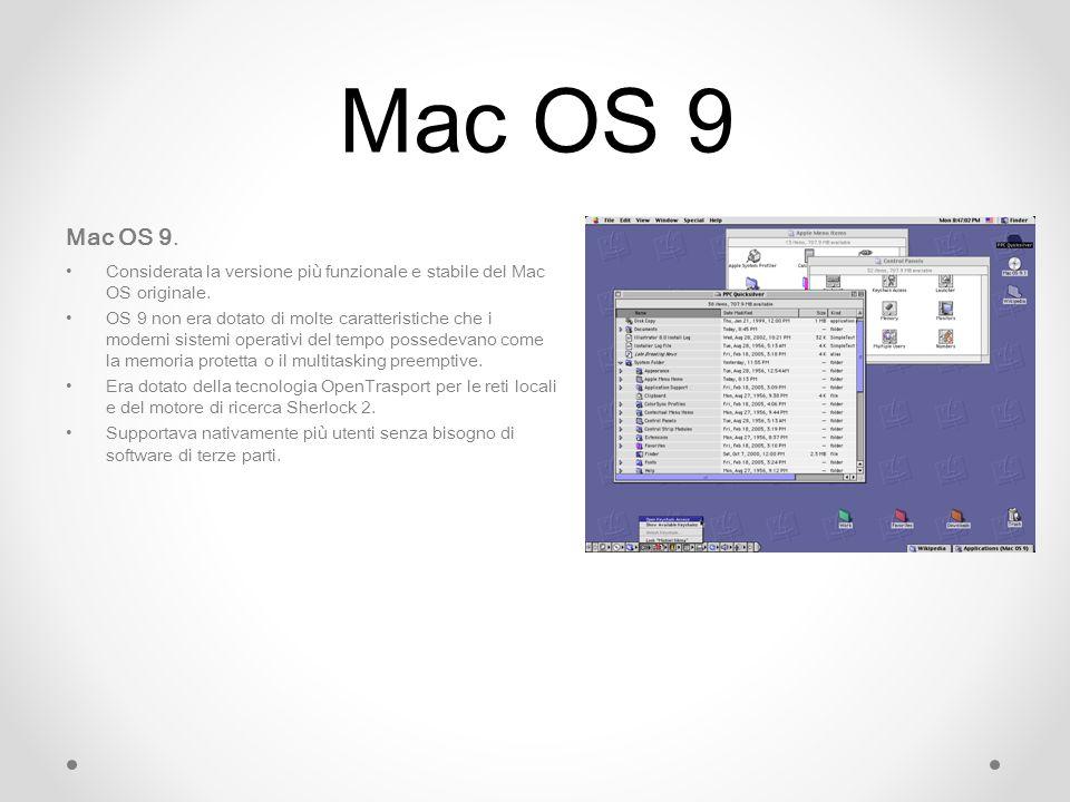 Mac OS 9 Mac OS 9. Considerata la versione più funzionale e stabile del Mac OS originale.