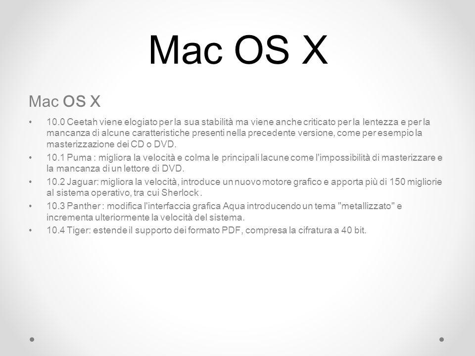Mac OS X Mac OS X.